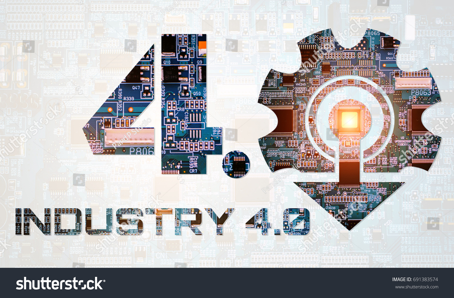 Industry 40 Concept Number 4 Gear Stock Photo Edit Now 691383574 Electric Circuit Board Processor Tshirts And Texts Electronic With