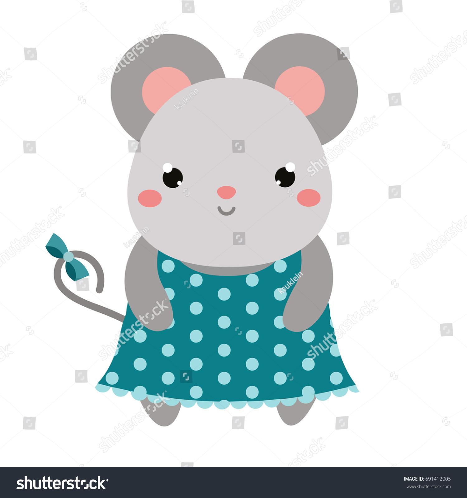 Cute Mouse Polka Dot Dress Children Stock Illustration 691412005 ...