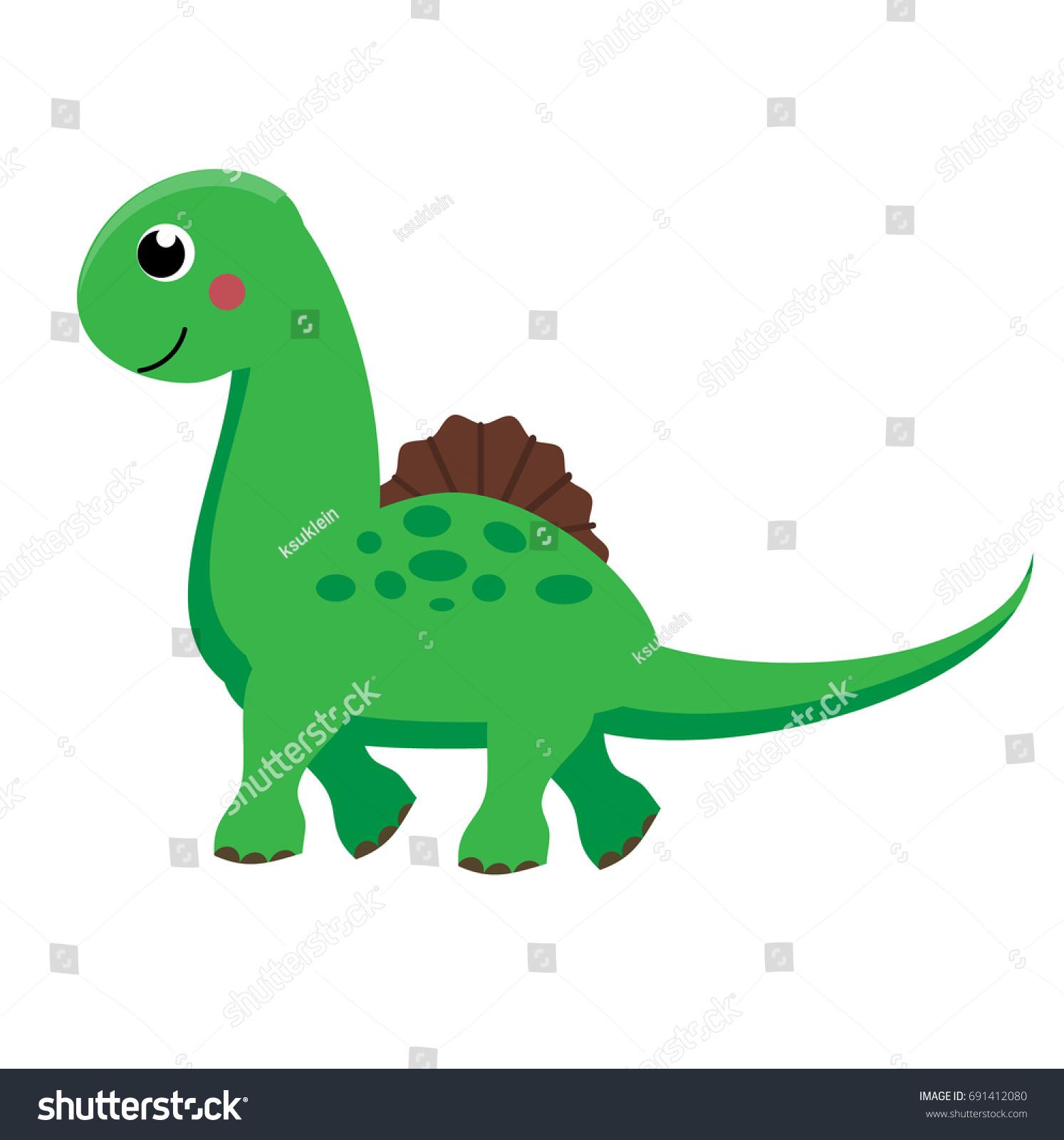 Cute Green Dinosaur Cartoon Dino Character Stock Illustration ...
