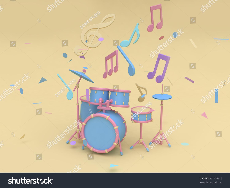 3 D Bluepink Radio Drum Set Many Stock Illustration 691416619 ...