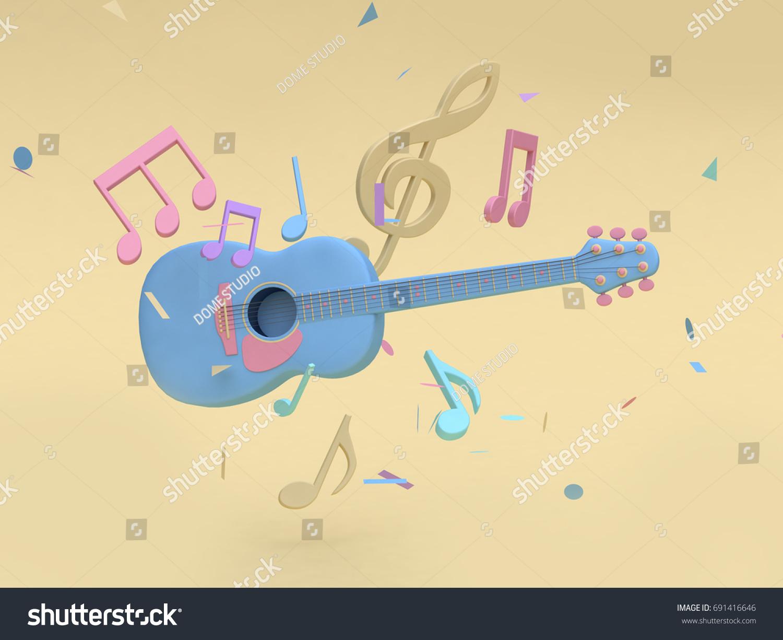 3 D Blue Guitar Many Music Notekey Stock Illustration 691416646 ...