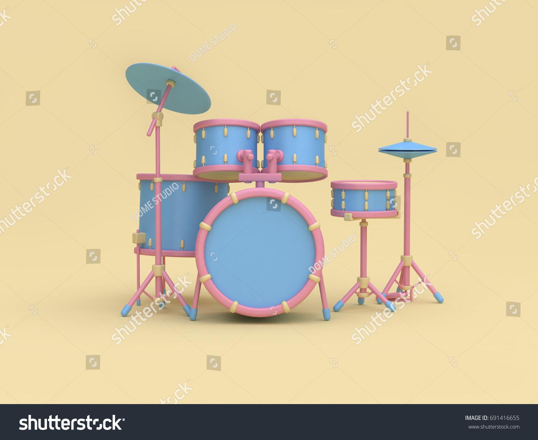 3 D Bluepink Radio Drum Set Cartoon Stock Illustration 691416655 ...