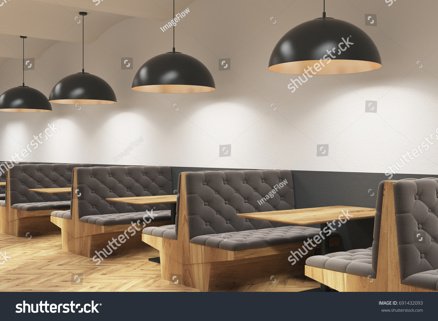 gray cafe interior with soft sofas and wooden tables white and gray walls wooden - Gray Cafe Interior