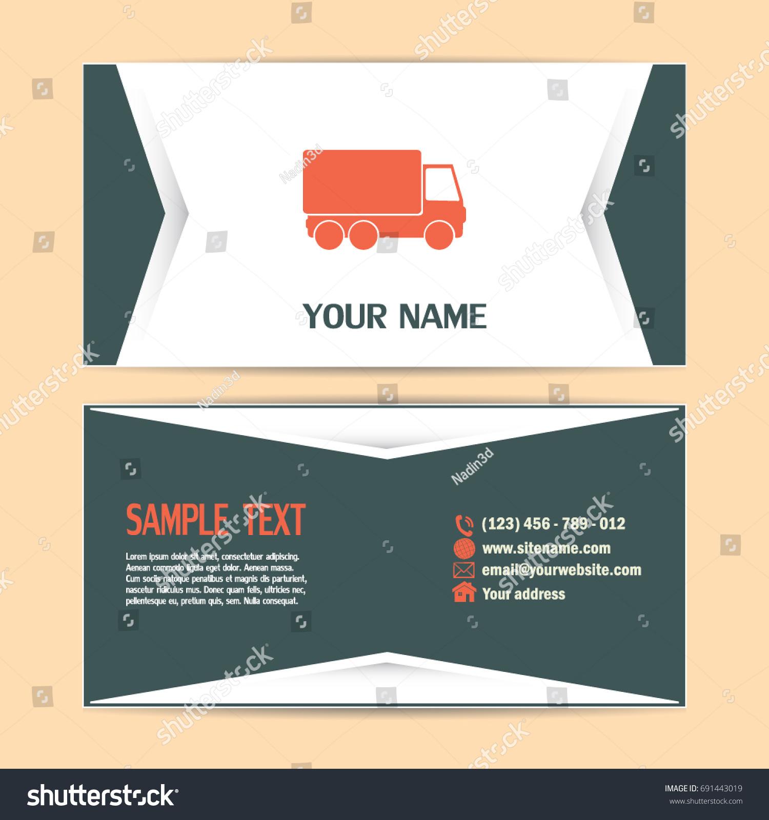 Business Cards Design Vector Illustration Truck Stock Vector ...