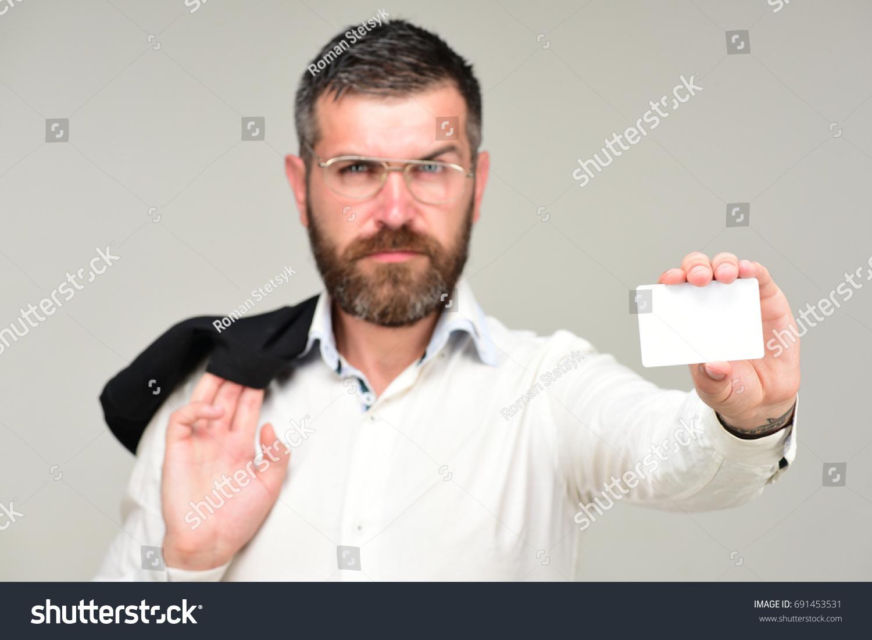 Man Beard Holds White Card Success Stock Photo 691453531 - Shutterstock