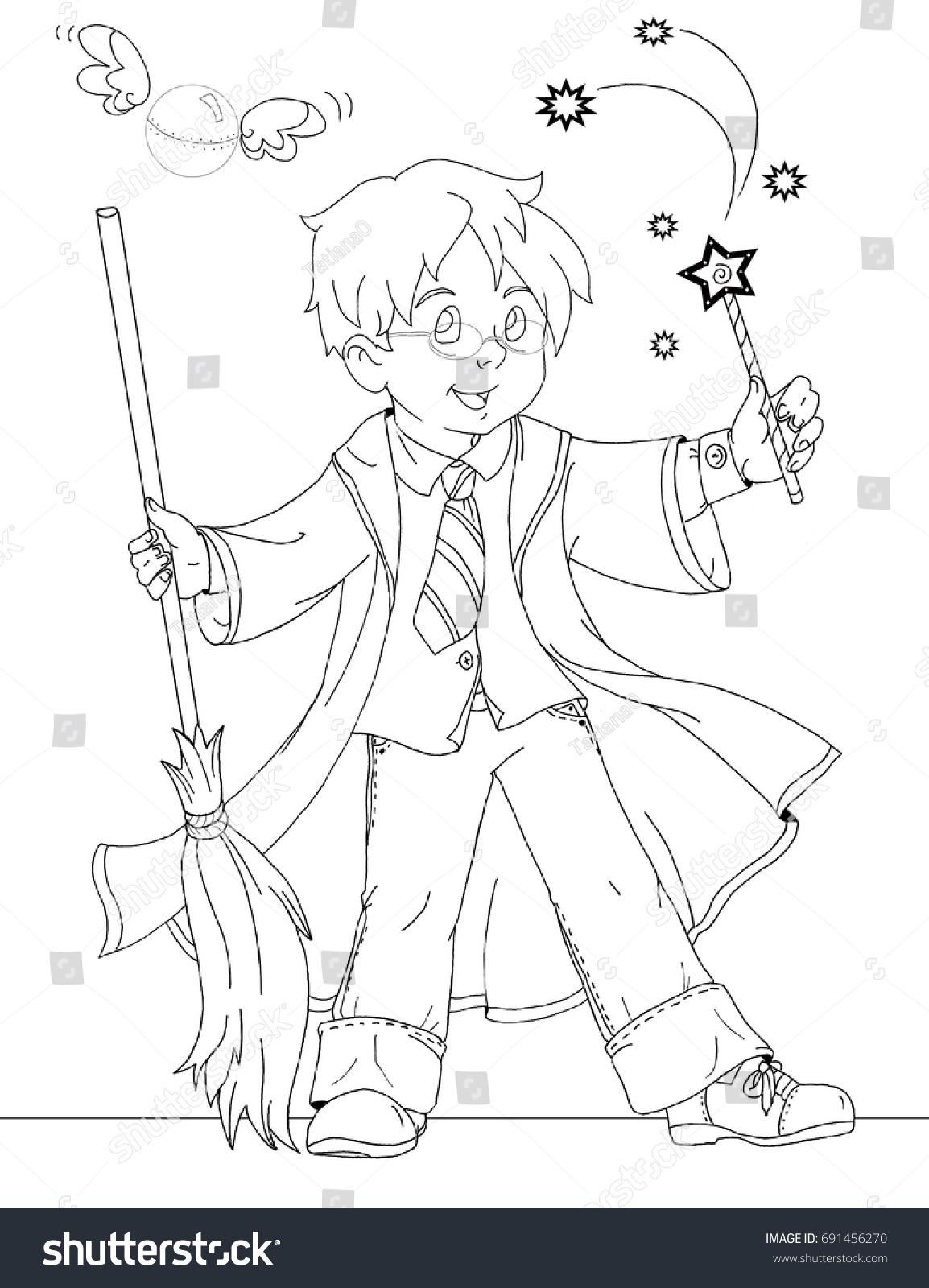 Coloring Page Wizard Boy Stock Illustration 691456270 - Shutterstock