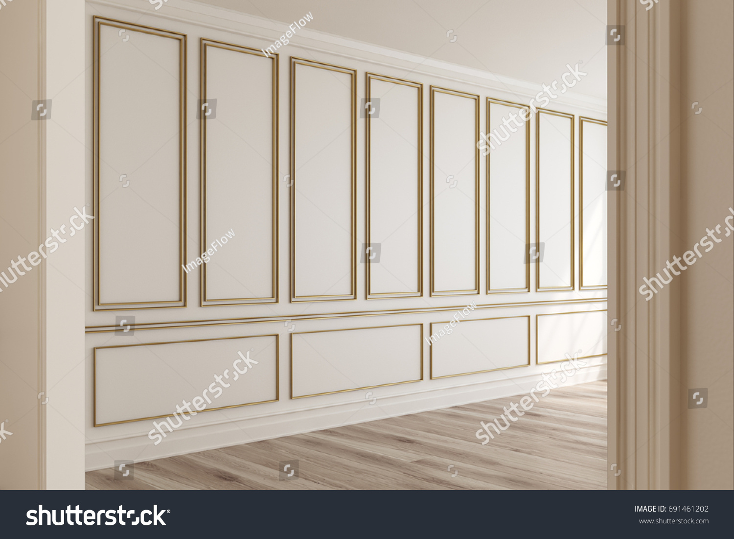 Empty Luxury Room Interior With White Walls, Frame Like Decoration Elements  On Them And A