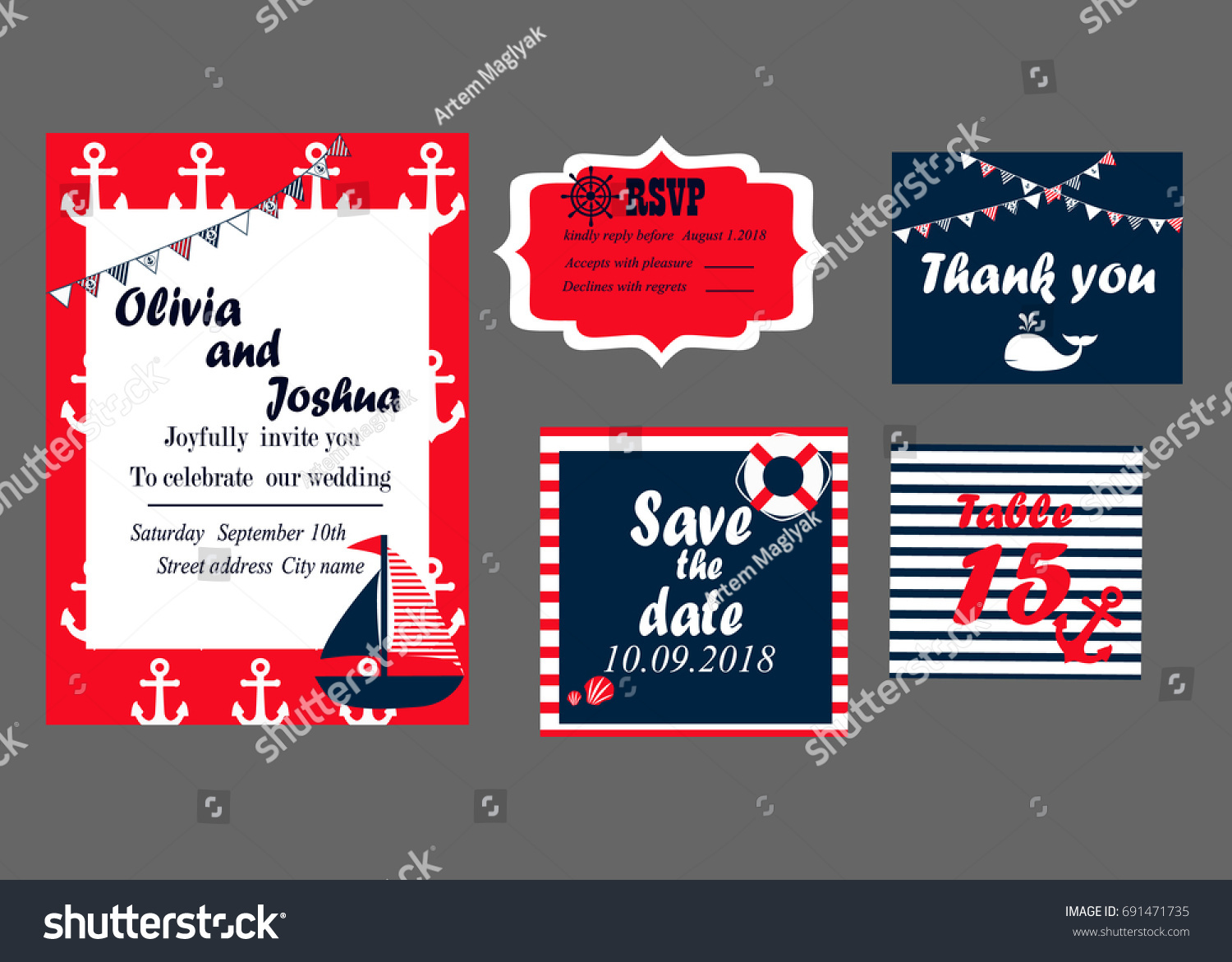 Wedding Invitation Cards Set Nautical Style Stock Illustration ...