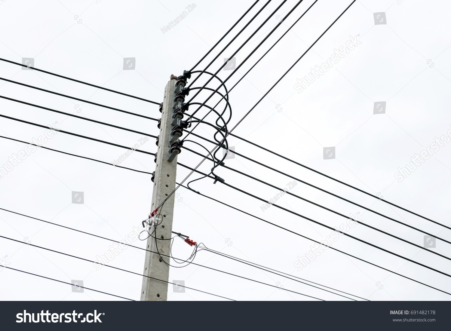 Electric Pole Connect High Voltage Electric Stock Photo (100% Legal ...