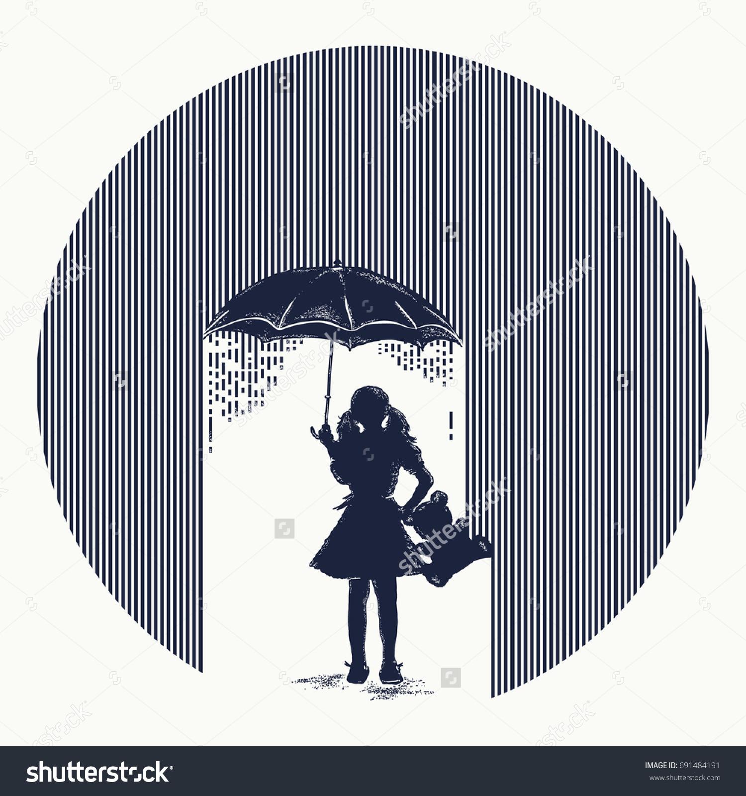 Girl Rain Tattoo Symbol Protection Children Stock Vector Royalty
