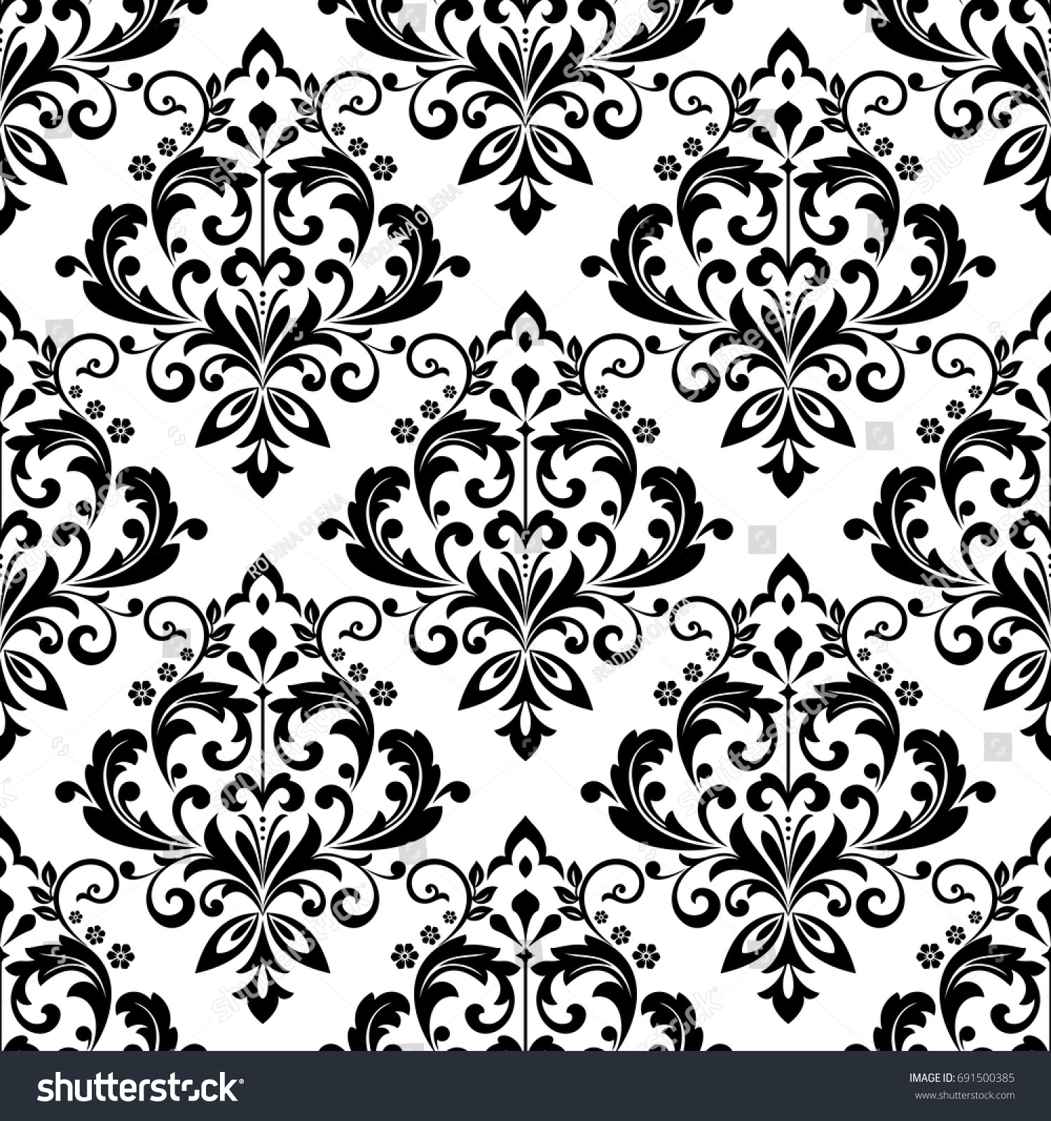 Damask wallpaper seamless vector background black stock for Black white damask wallpaper mural