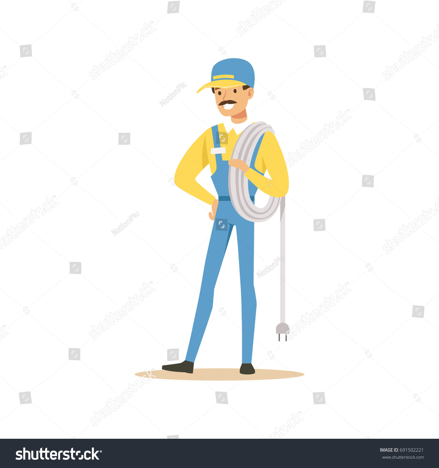 Professional Electrician Man Character Standing Wire Stock Vector ...