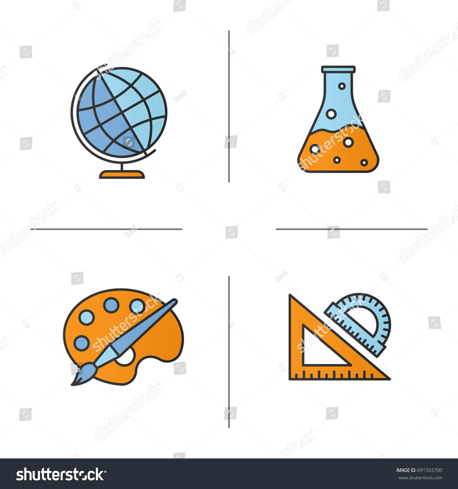 Education Color Icons Set Geography Chemistry Stock Vector 691503700