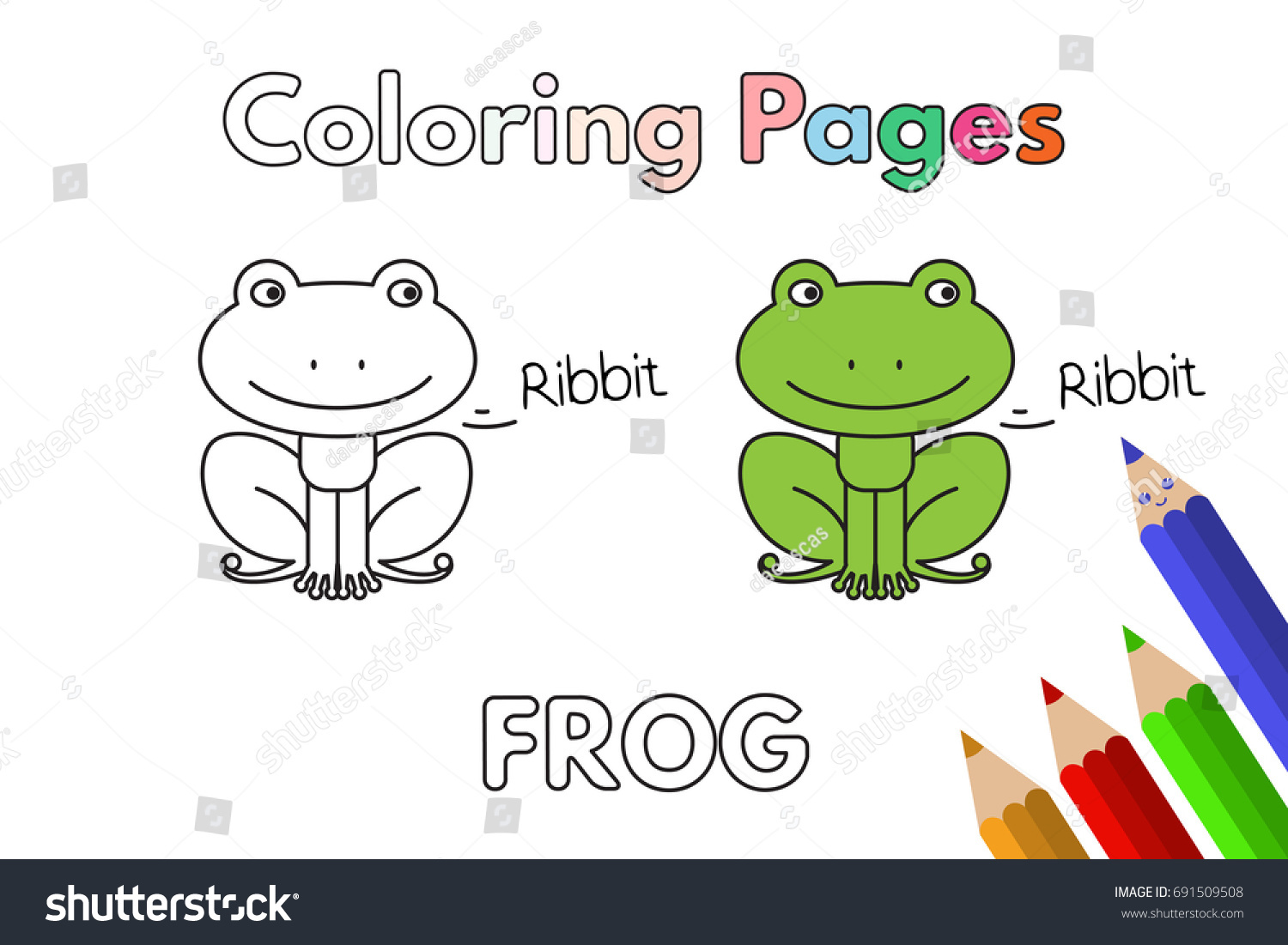 Cartoon Frog Illustration Vector Coloring Book Stock Vector ...