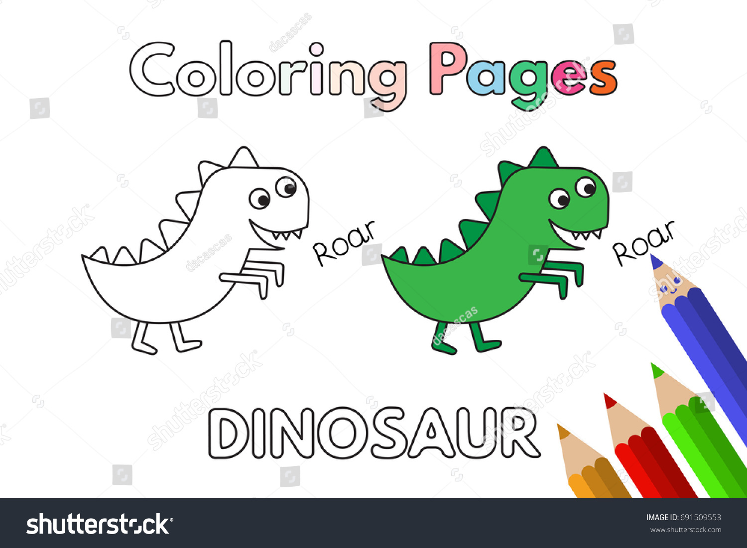 Cartoon Dinosaur Illustration Vector Coloring Book Stock Vector ...