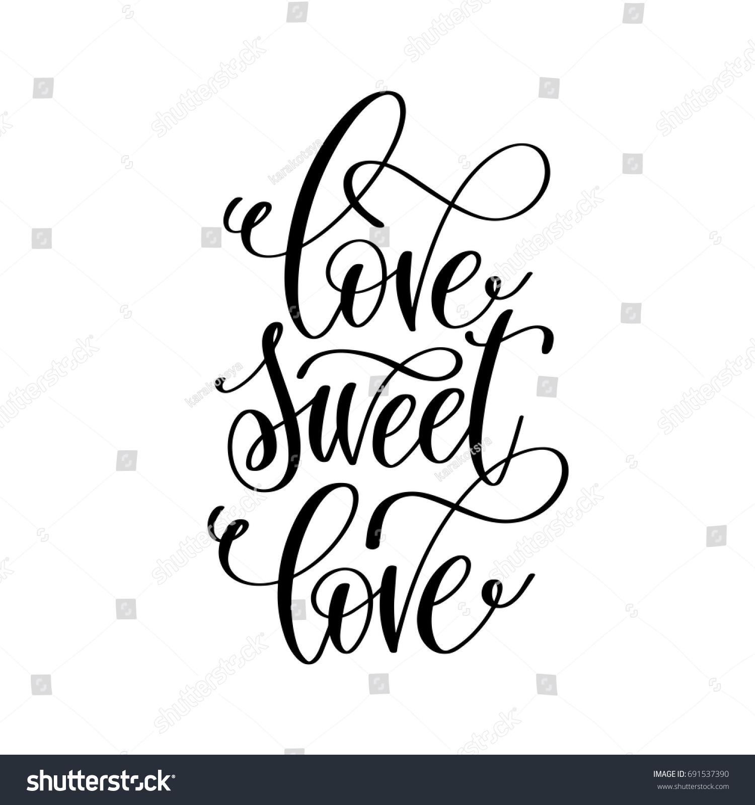 Love Sweet Love Hand Lettering Romantic Stock Vector