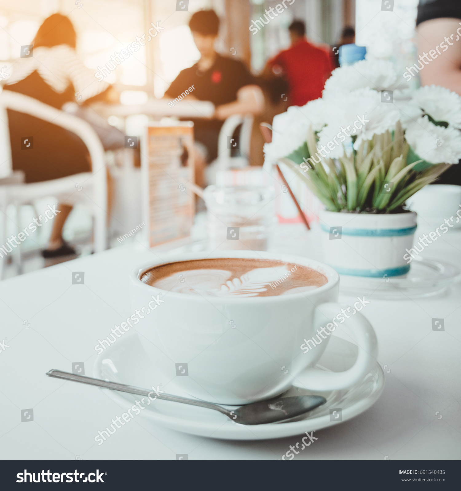 Cup Coffee Table Flower Cafe Stock Shutterstock