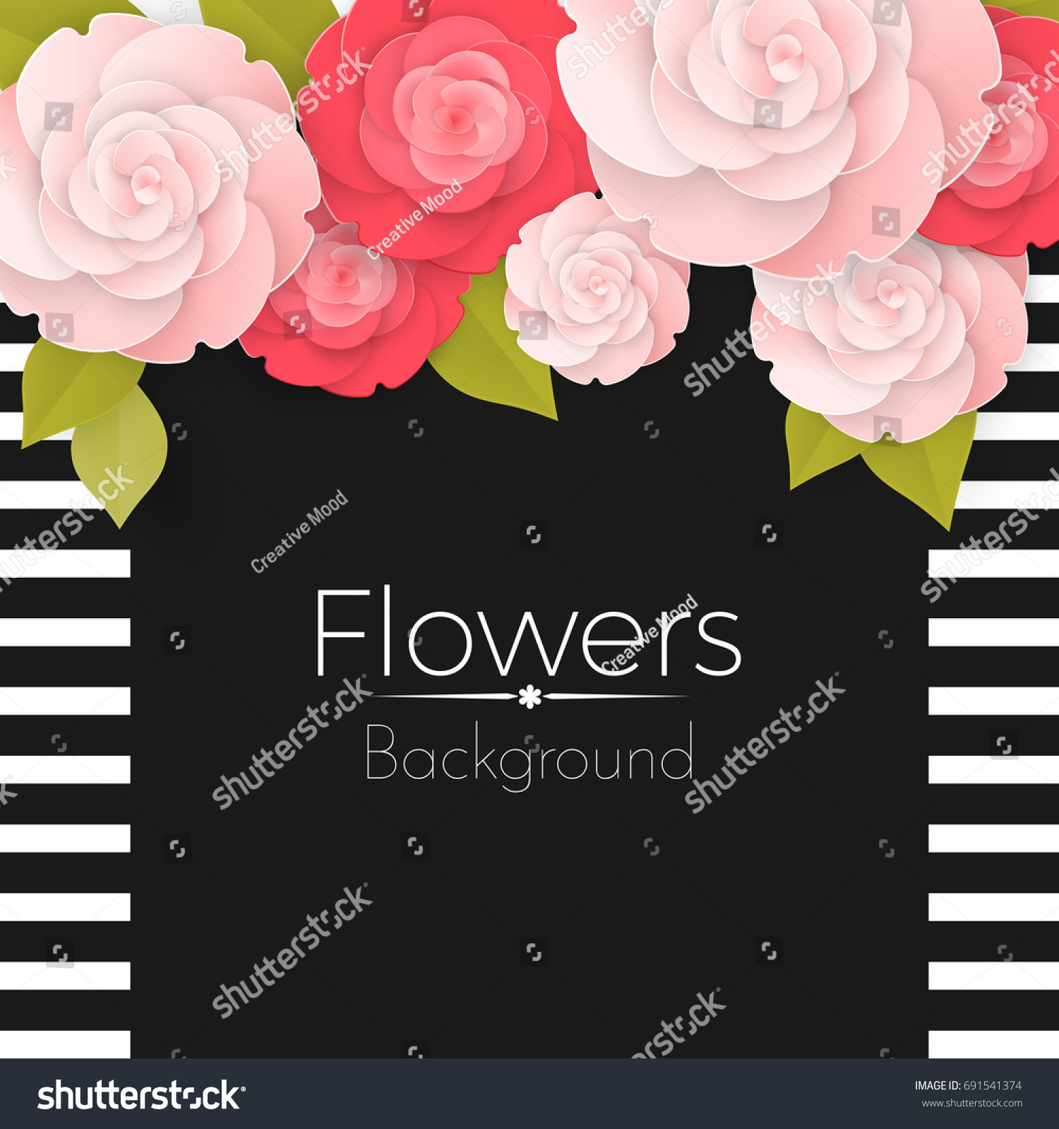 Paper Flowers Background Stripped Frame Black Stock Vector Royalty