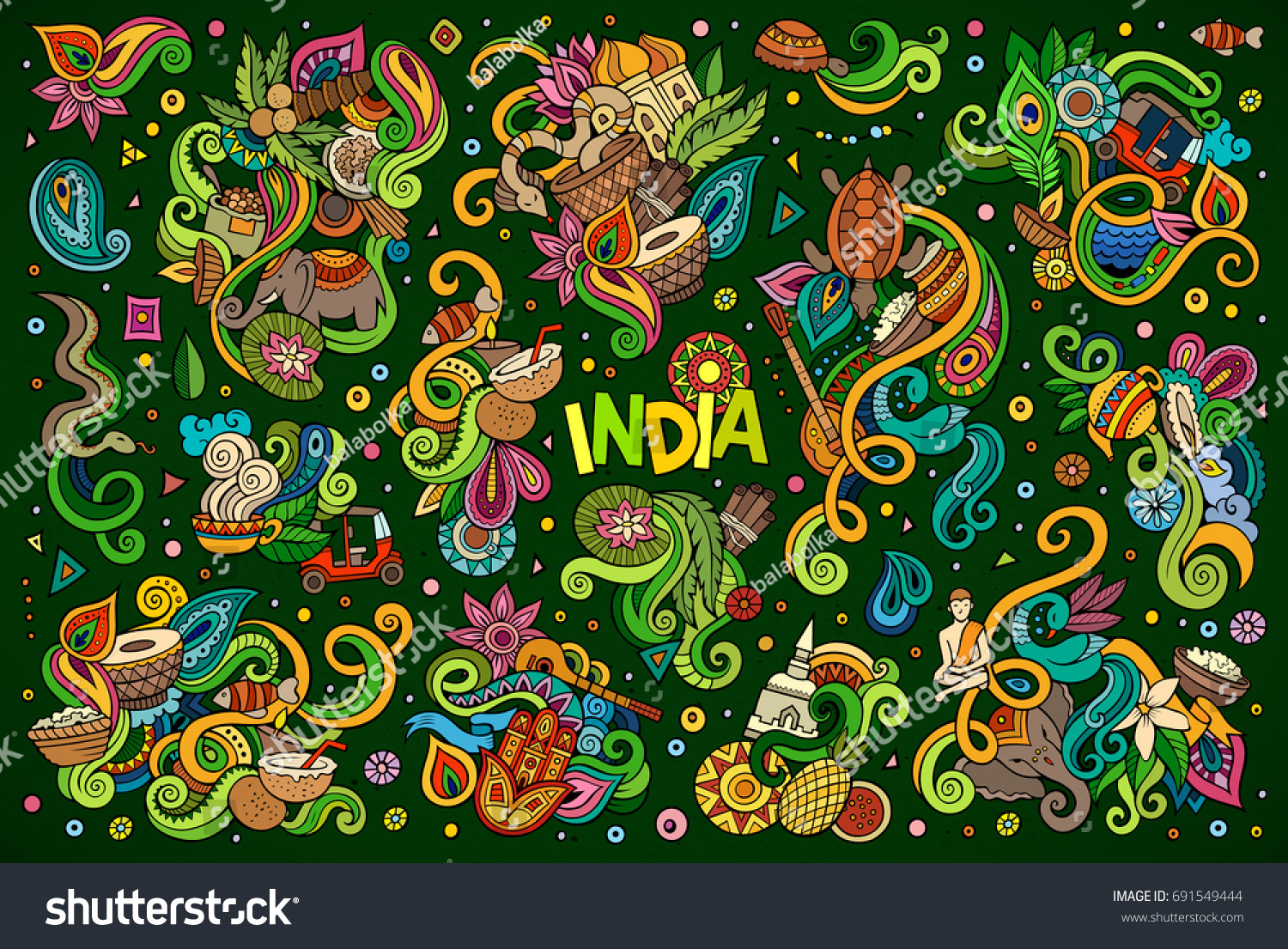 Colorful vector hand drawn doodle cartoon stock vector 691549444 colorful vector hand drawn doodle cartoon set of indian objects and symbols designs buycottarizona