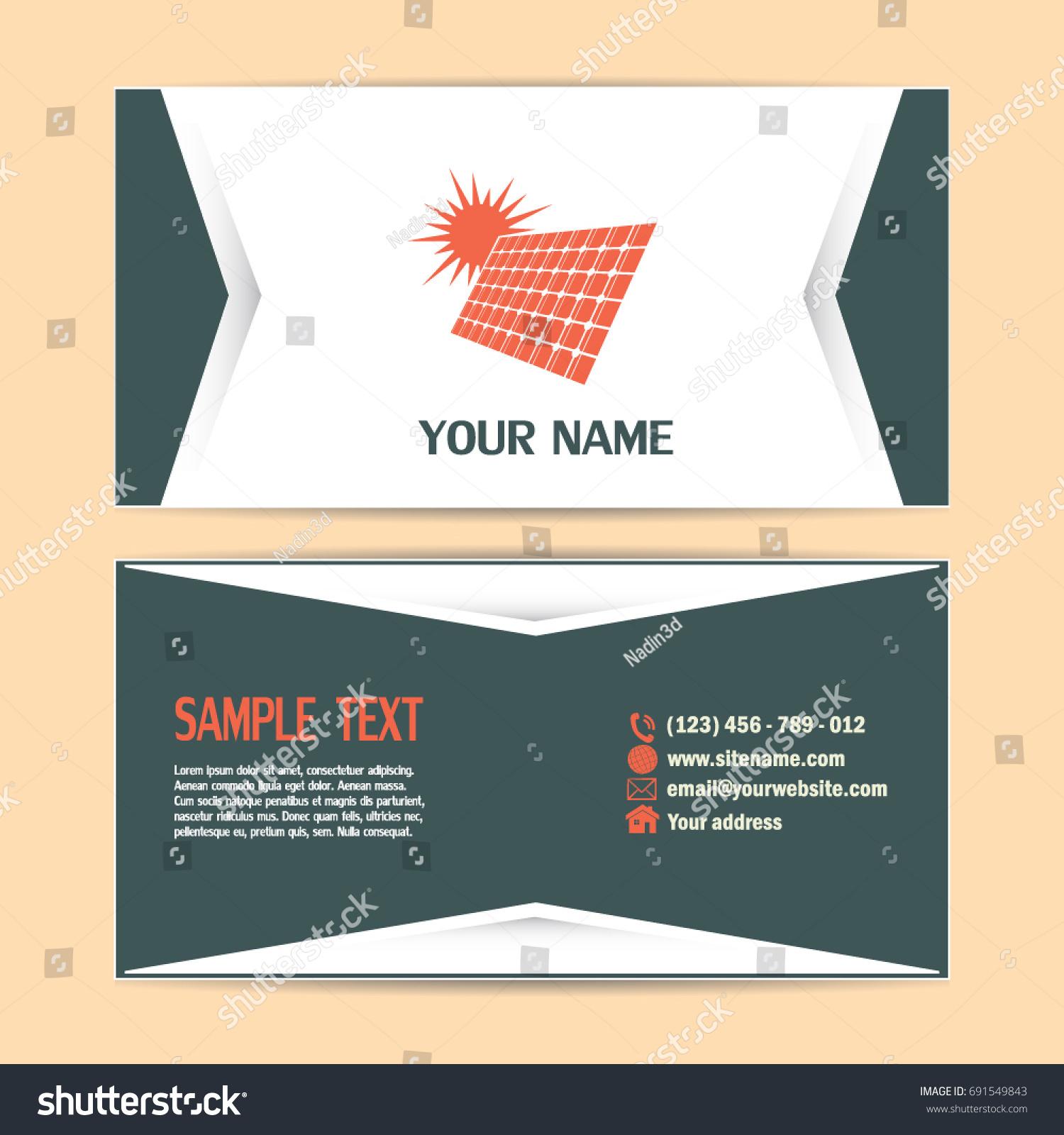 Business Cards Design Solar Panel Vector Stock Vector 691549843 ...