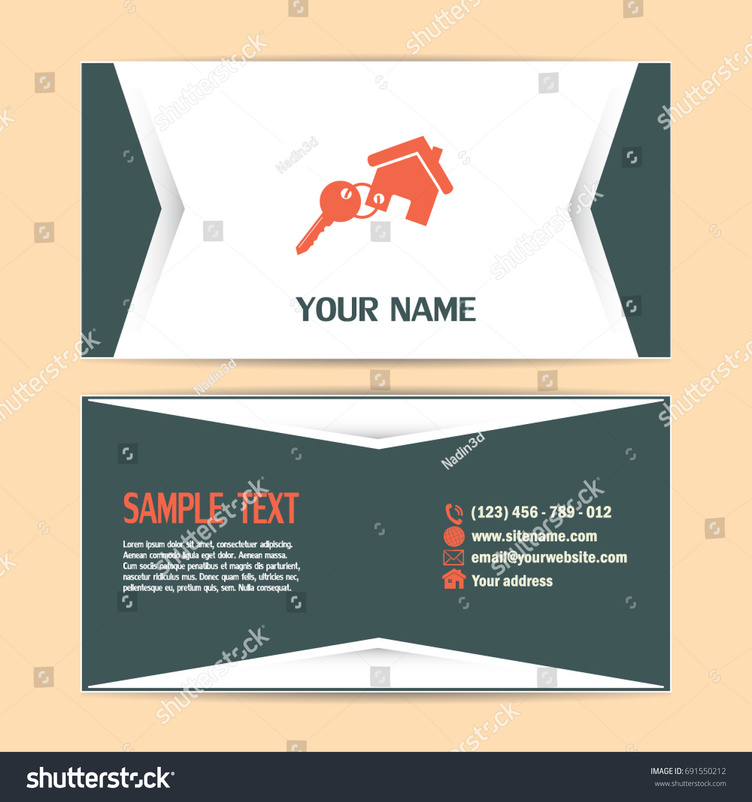Business Cards Design Vector Illustration Keychain Stock Vector ...