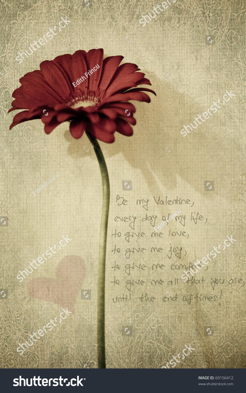 Red Flower Valentine Poem Textured Stock Photo Edit Now 69156412