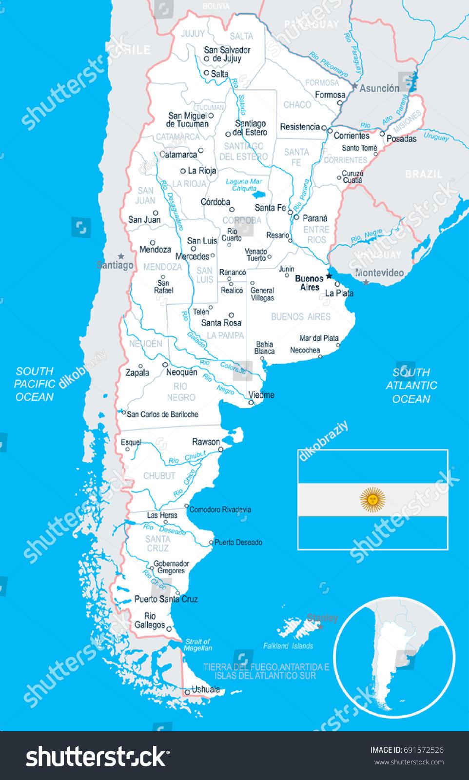 Argentina Map Flag Vector Illustration Stock Vector - Junin argentina map