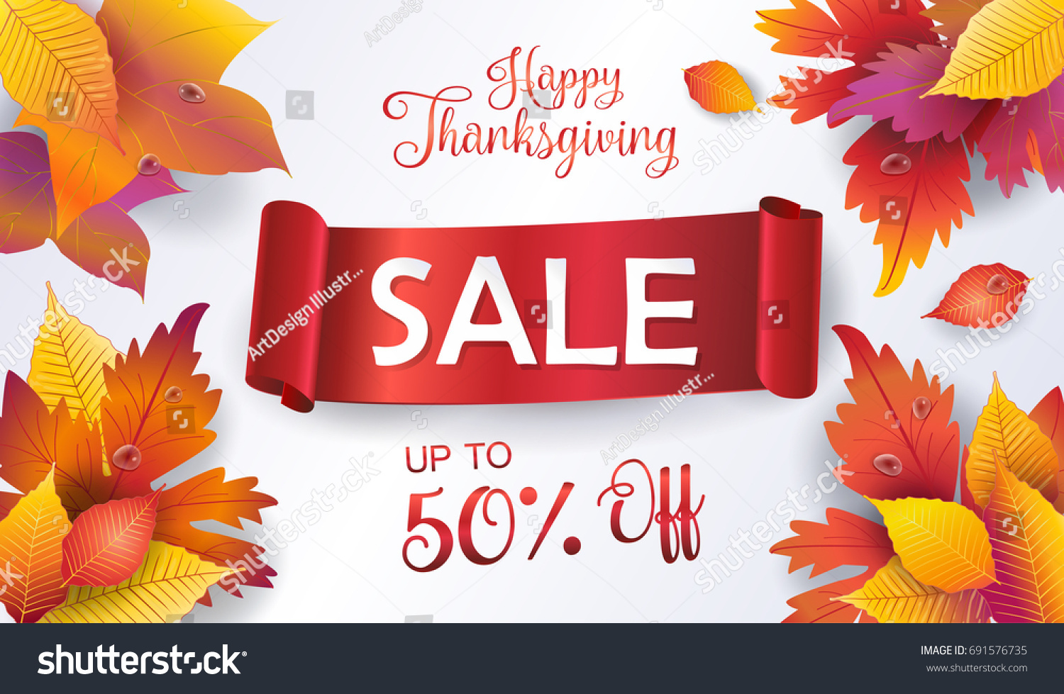 Thanksgiving sale autumn sales banner fall stock vector