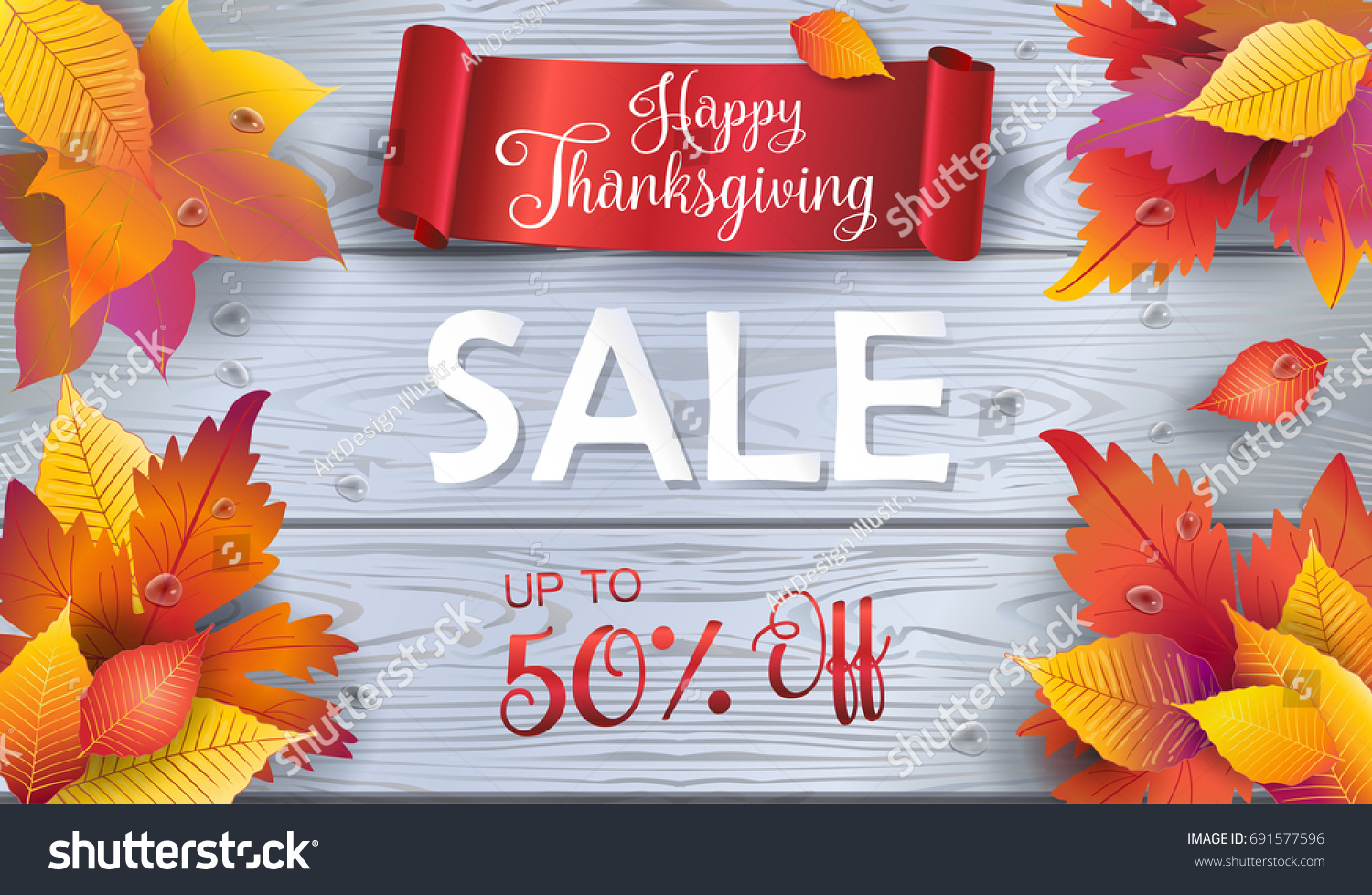 Happy Thanksgiving Holiday Sale Autumn Sales Stock Vector Royalty Free 691577596