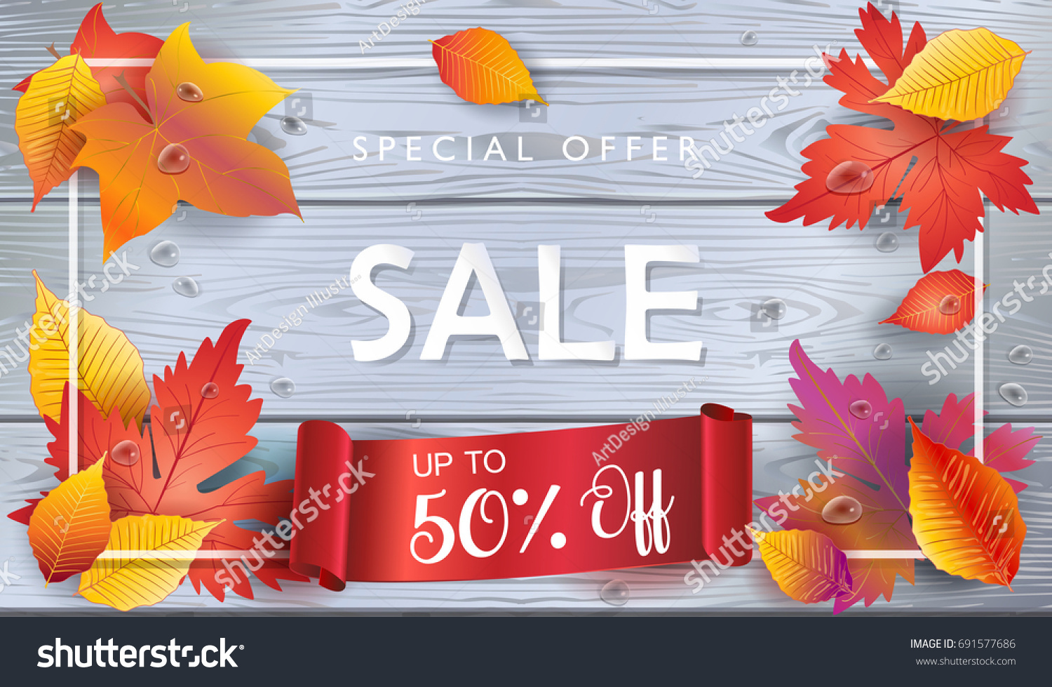 Thanksgiving Holiday Sale Autumn Sales Banner Stock Vector Royalty Free 691577686