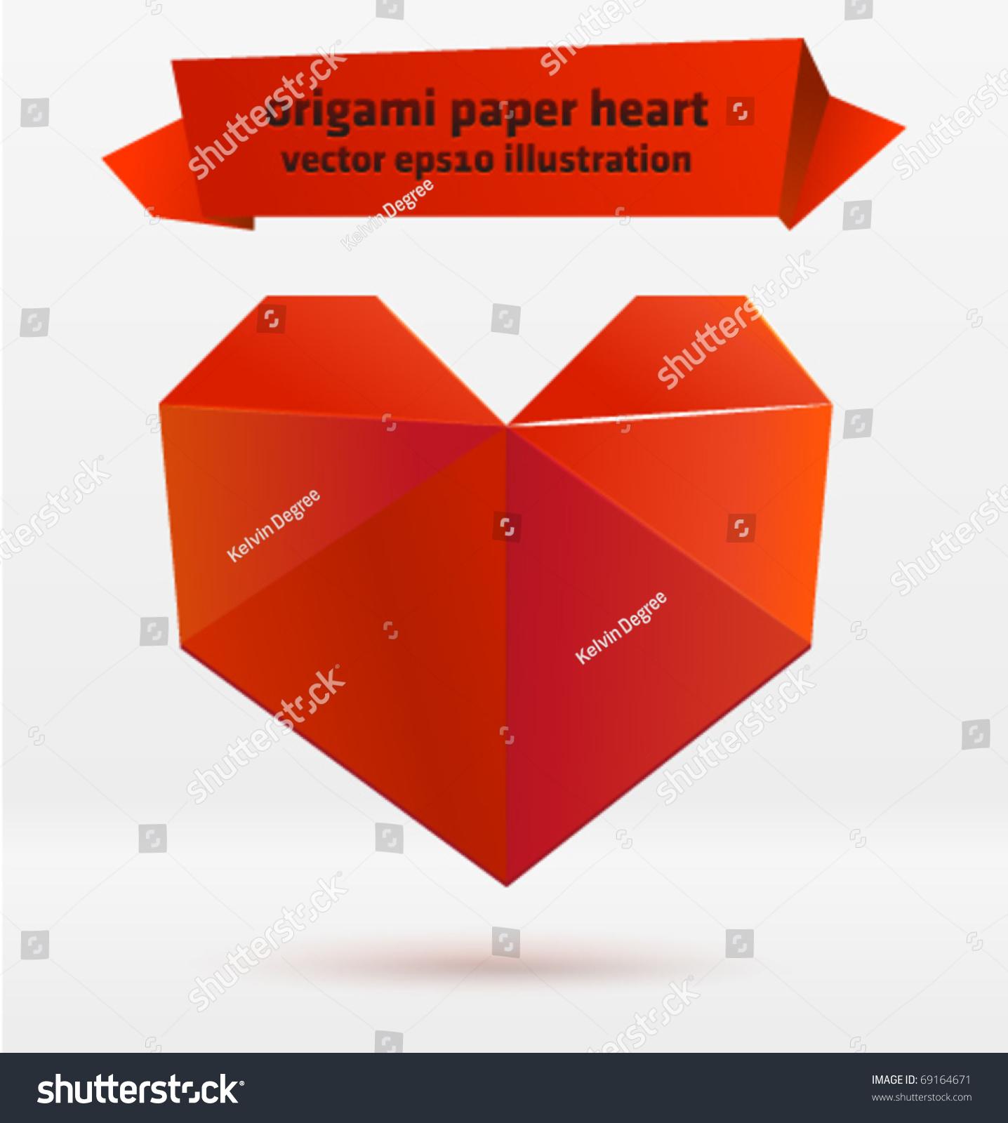 Vector origami heart.