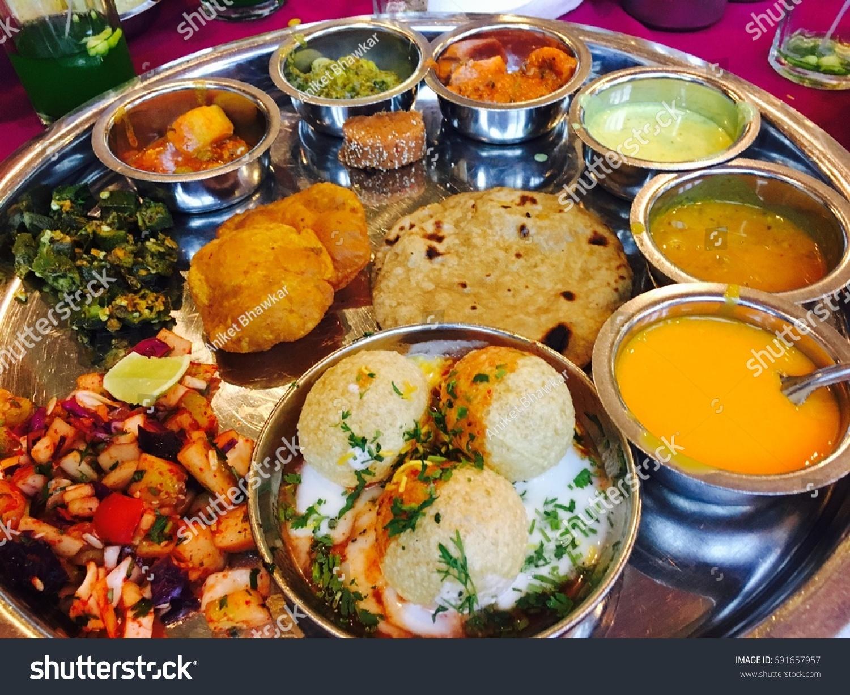Indian Food Platter Indian Thali Indian Stock Photo Edit Now 691657957