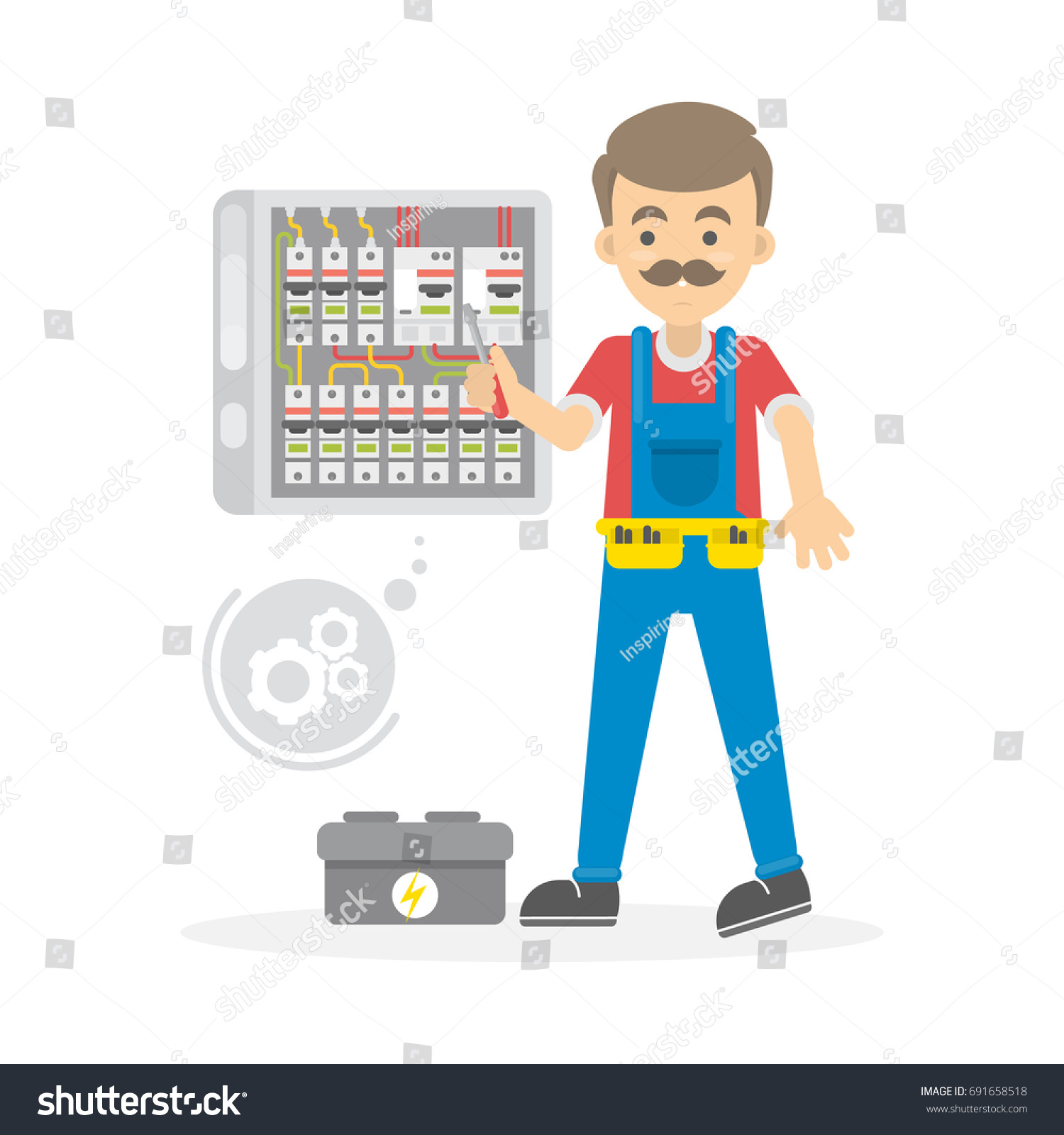 Electrician Work Man Tools Repairs Wires Stock Vector 691658518 ...