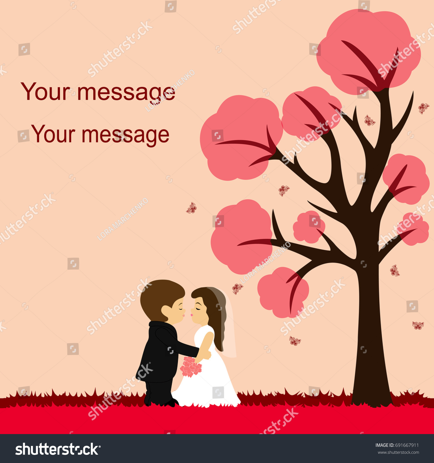 bride groom wedding card newlyweds on stock vector