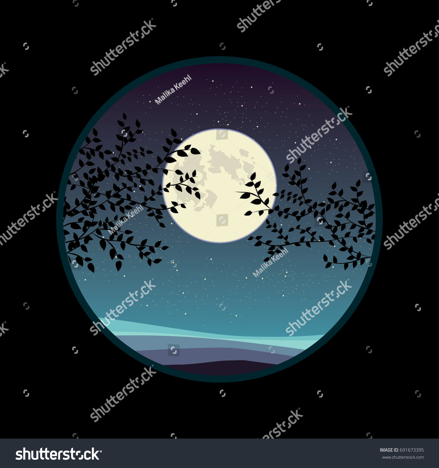 full moon over fields tree silhouettes stock vector royalty free