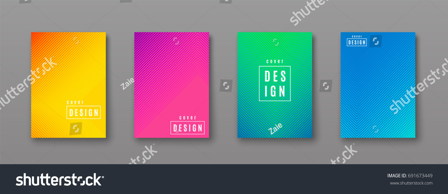 Vector illustration of bright color abstract pattern background with line gradient texture for minimal dynamic cover design. Blue, pink, yellow, green placard poster template #691673449