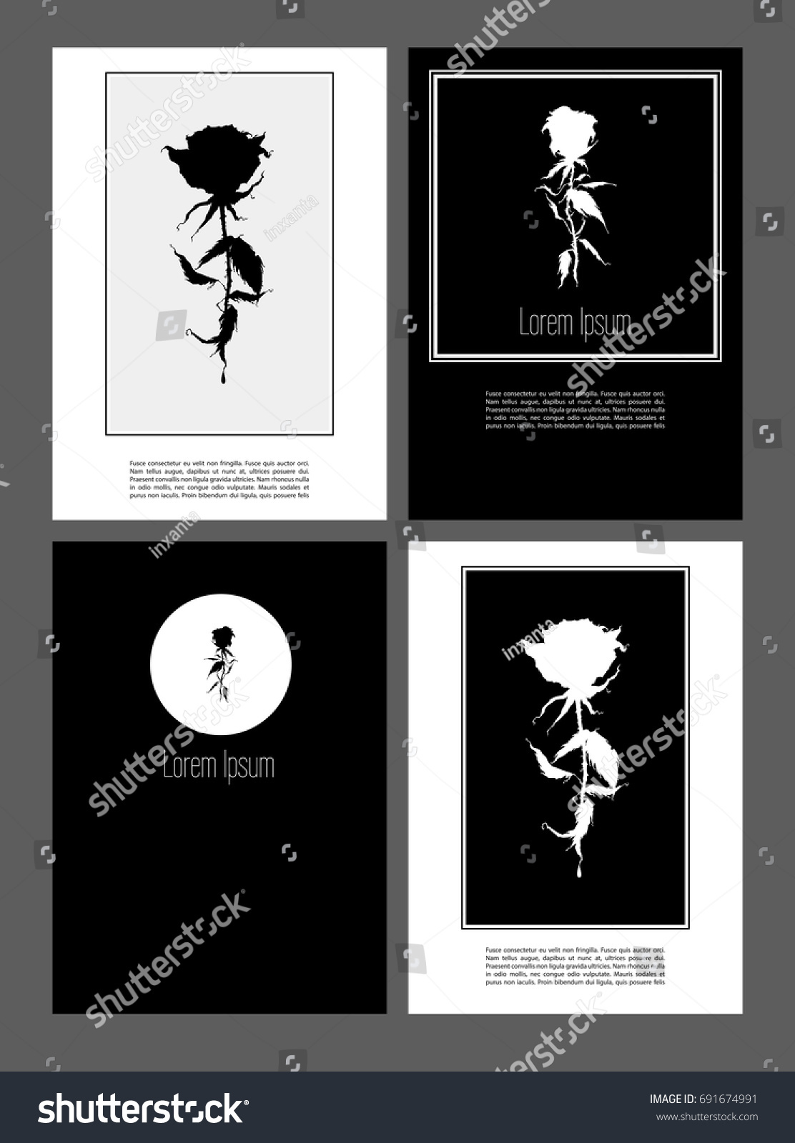 A 4 Pages Roses Abstract Flower Posters Stock Vector 691674991
