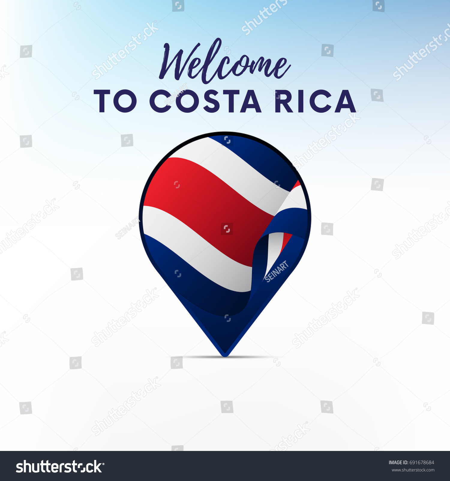 Flag costa rica shape map pointer stock vector 691678684 flag of costa rica in shape of map pointer or marker welcome to costa rica biocorpaavc Gallery