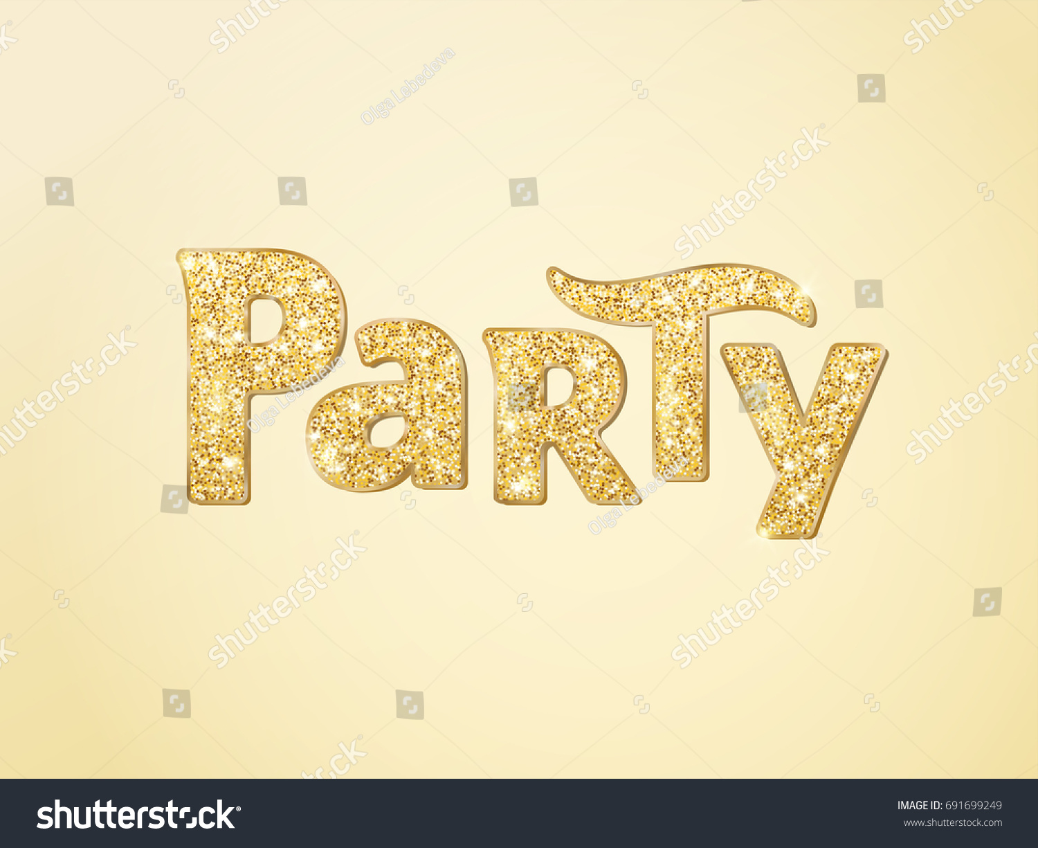 Party Word With Glitter Golden Sparkles Background Typography Great For Christmas And New