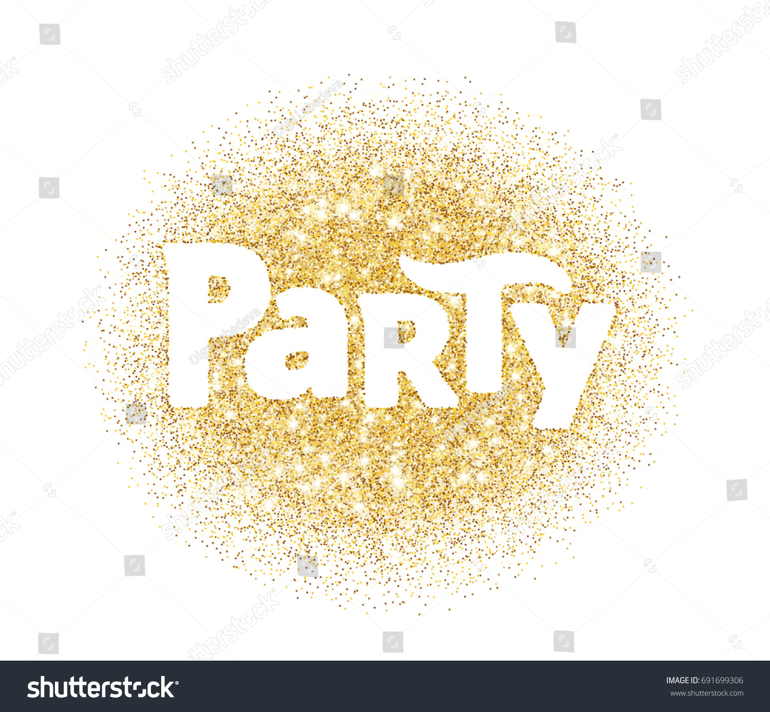 Party Word Glitter Banner With Typography Sparkles On White Background Golden Vector Dust