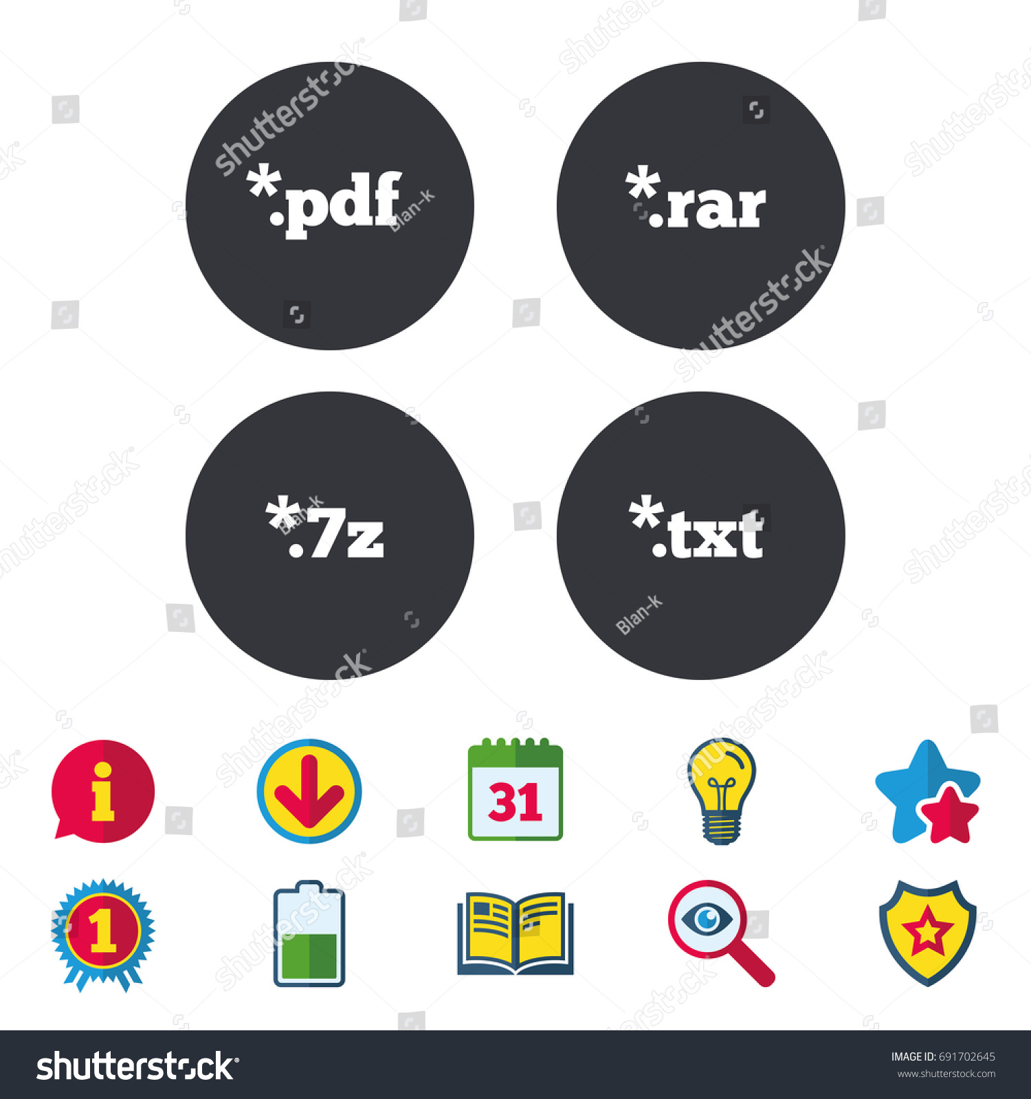 Document Icons File Extensions Symbols Pdf Stock Vector 691702645