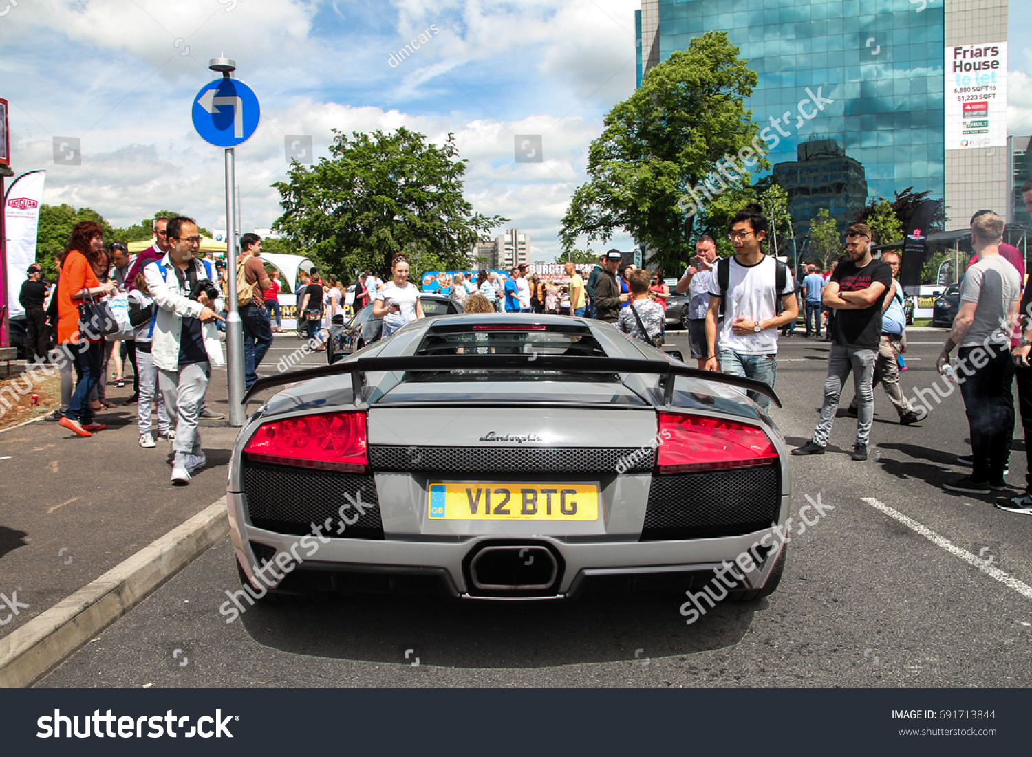 Coventry England 120617 Grey Lamborghini Murcielago Stock Photo