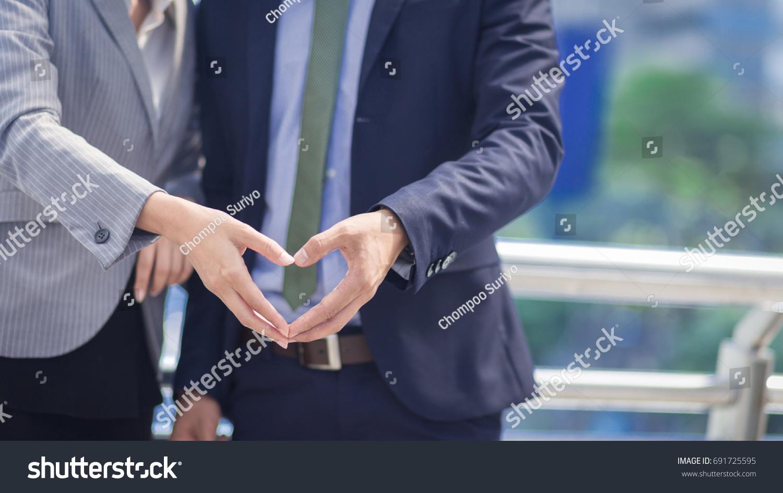 Hand Businessman Businesswoman Heart Shapefeeling Love Stock Photo