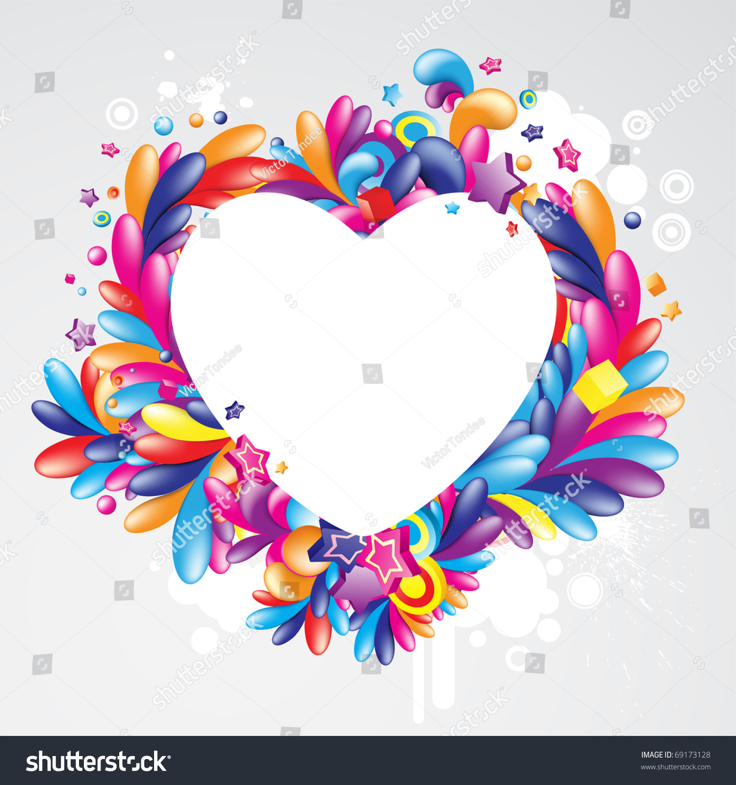 colorful heart shaped frame for your message