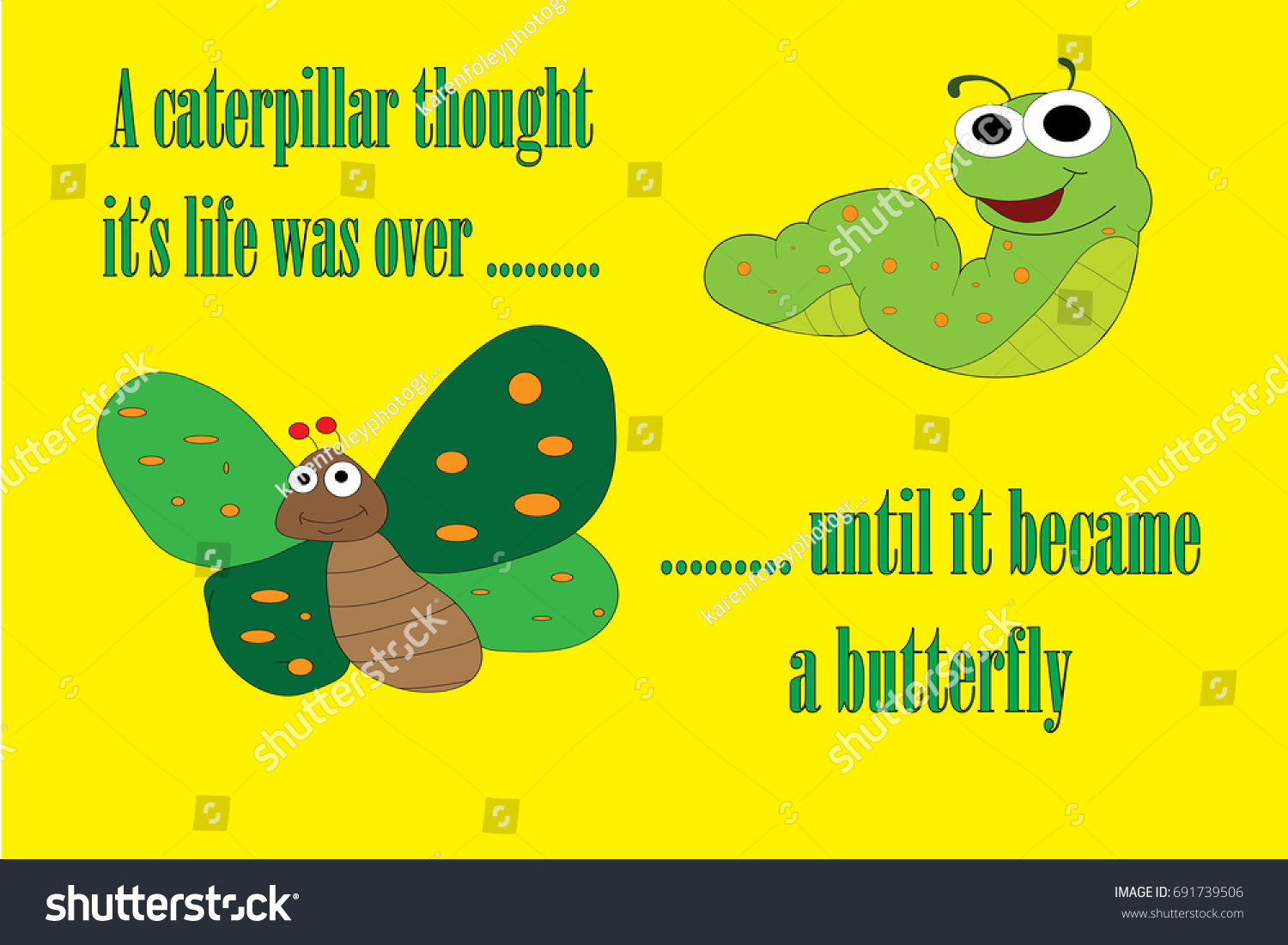 motivational quote caterpillar butterfly on yellow のベクター画像