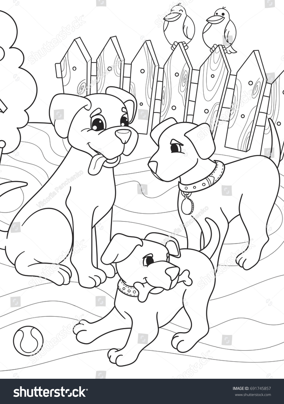 childrens coloring book cartoon family on nature mom dog and puppies children for adults - Childrens Coloring Books