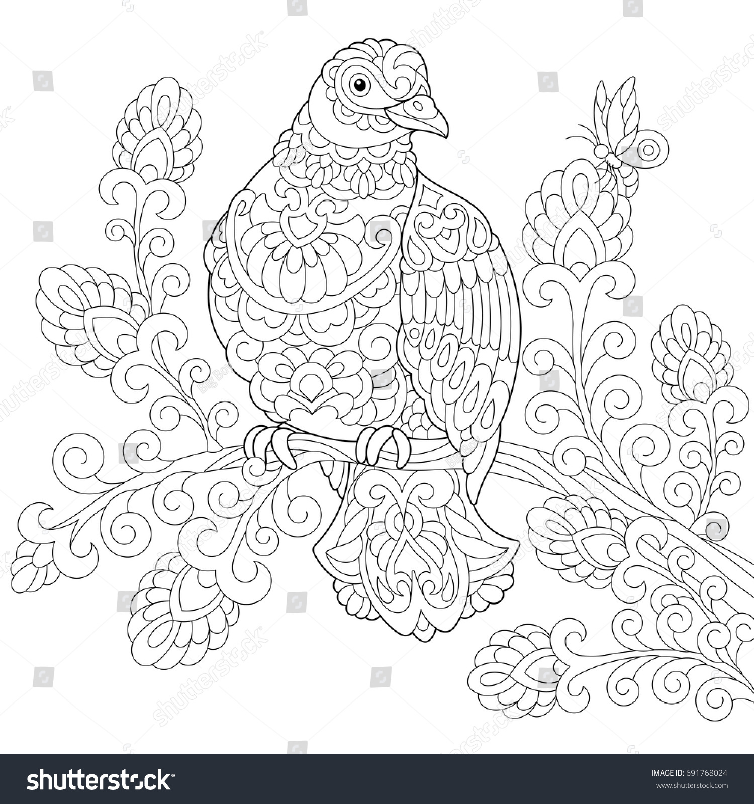 Coloring Page Of Dove Pigeon Bird Freehand Sketch Drawing For Adult Antistress Colouring