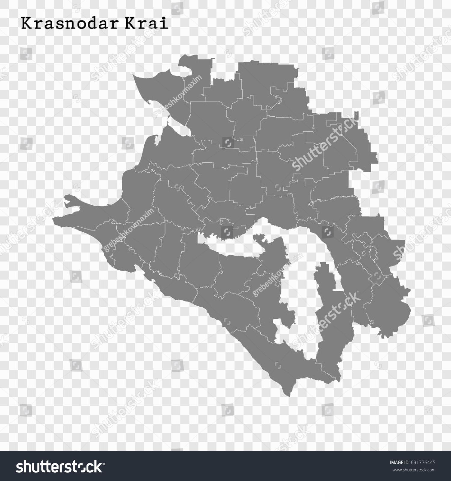 High Quality Map Krasnodar Krai Region Stock Vector 691776445