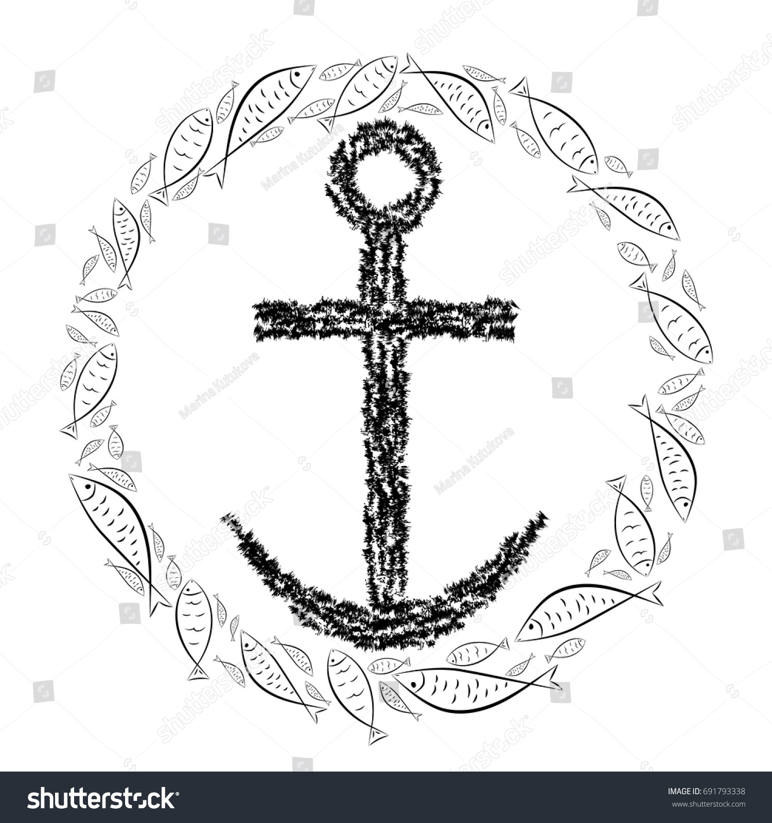 Anchor Cross Christian Religion Circle Fish Stock Vector Royalty