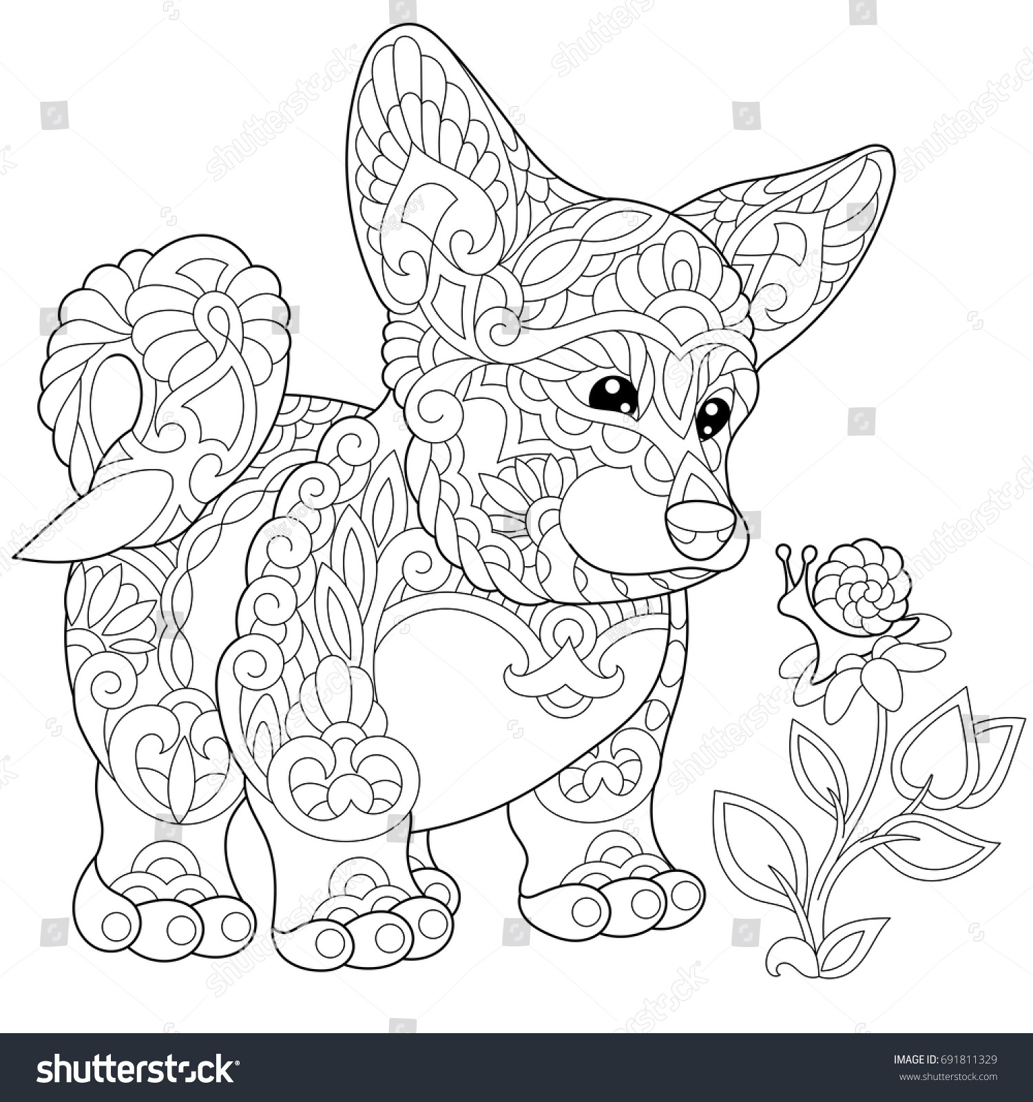 coloring page cardigan welsh corgi puppy stock vector 691811329